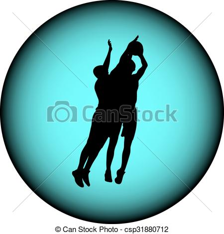 450x470 Basketball Silhouette Vector. Basketball Players In Action