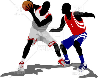 400x320 Colored Silhouettes Of Basketball Players With Ball Royalty Free