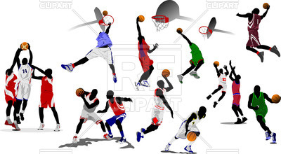 400x220 Colorful Silhouettes Of Basketball Players Royalty Free Vector