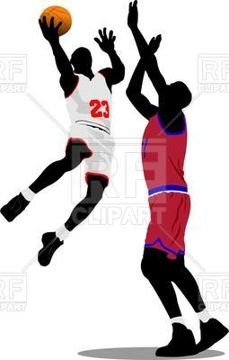255x400 Silhouette Of Basketball Players In Motion Royalty Free Vector