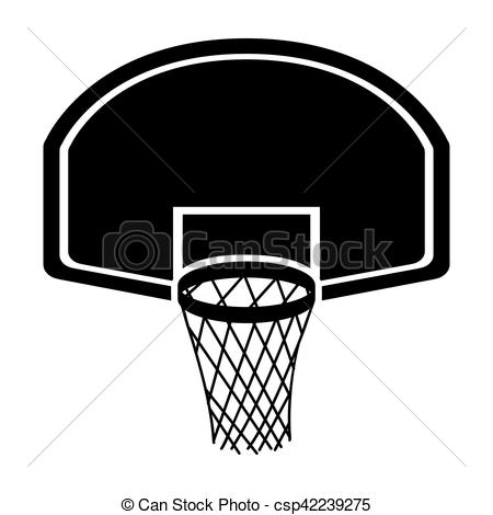 450x470 Silhouette Monochrome With Rounded Basketball Hoop Vector