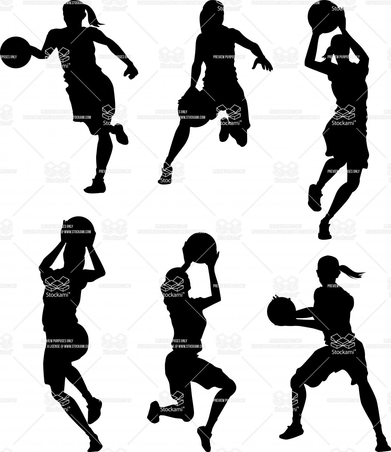 1300x1500 Girl Shooting Basketball Silhouette Clipart