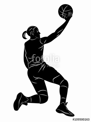 375x500 Silhouette Female Basketball Player, Vector Drawing Stock Image