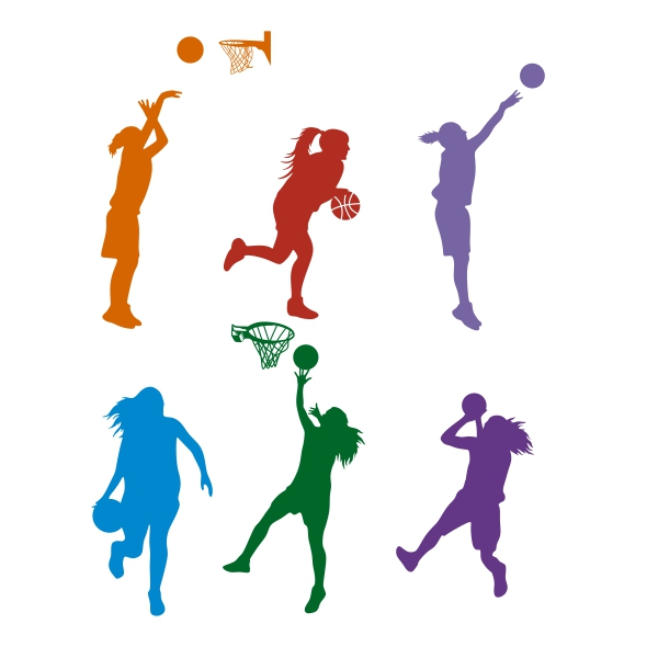 600x600 Basketball Girl Silhouette Cuttable Design