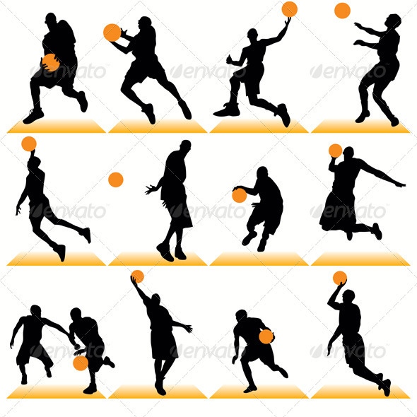590x590 Basketball Players Silhouettes Set By Kaludov Graphicriver