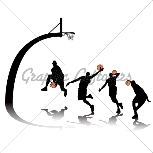 500x500 Basketball Silhouettes Gl Stock Images
