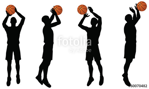 500x300 Basketball Players Silhouette Collection In Shoot Position Stock