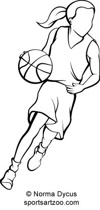 198x415 Basketball Player Dribbling Clipart