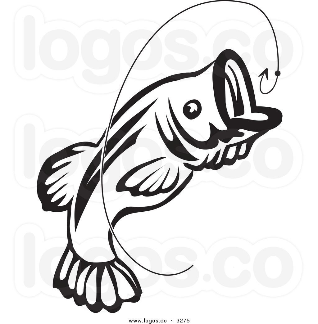 1024x1044 Royalty Free Vector Of A Jumping Black And White Fish And Hook
