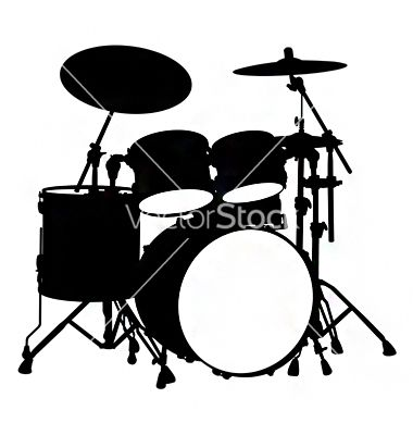 380x400 Drum Kit Silhouette Vector Artistic Ideas Drum Kit