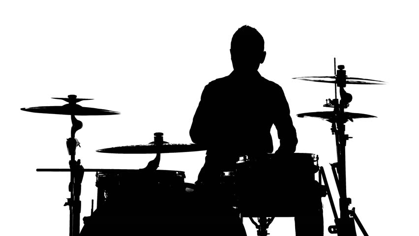 852x480 Silhouette Of Drummer Playing Drums 4k Stock Footage Video