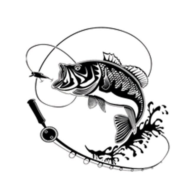 640x640 17.9cm17.9cm Creative Fishing Silhouette Car Sticker Vinyl Decal