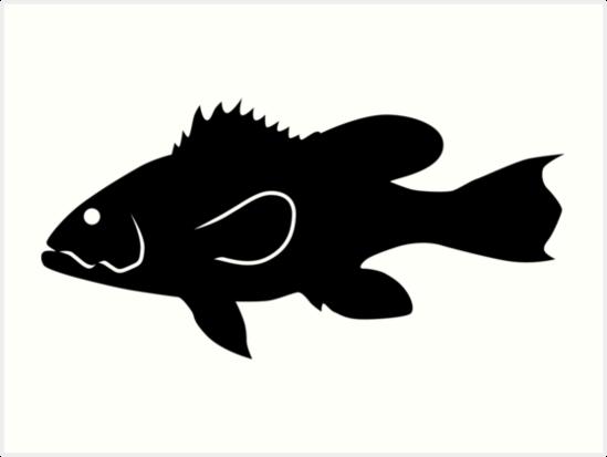 549x413 Black Sea Bass Fish Silhouette (Black) Art Prints By