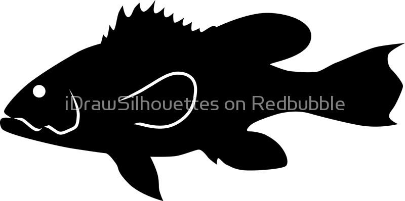 800x398 Black Sea Bass Fish Silhouette (Black) Canvas Prints By