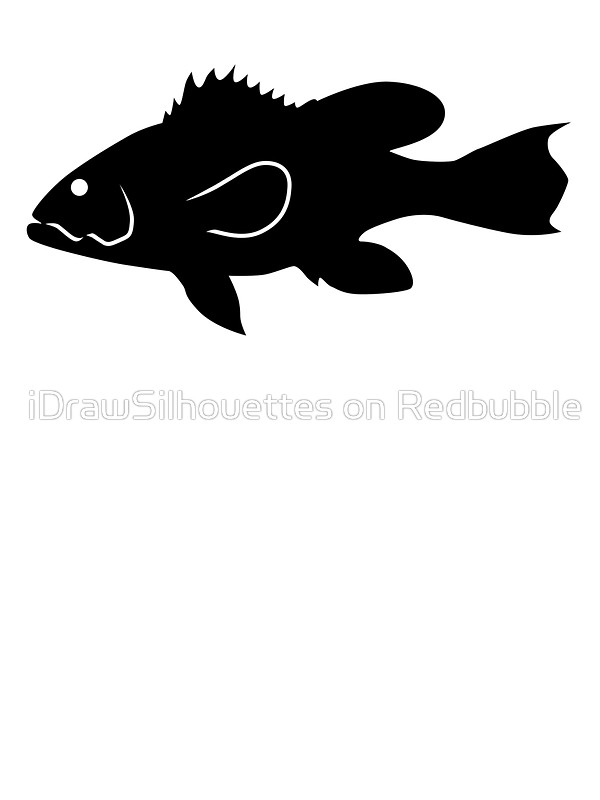 600x800 Bank Sea Bass Fish Silhouette (Black) Stickers By