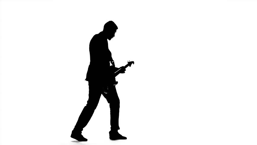 852x480 Man Musician With Bass Guitar. Silhouette. Slow Motion Stock