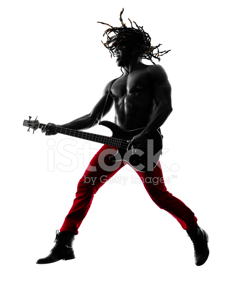 770x1024 African Man Guitarist Bassist Player Playing Silhouette Stock