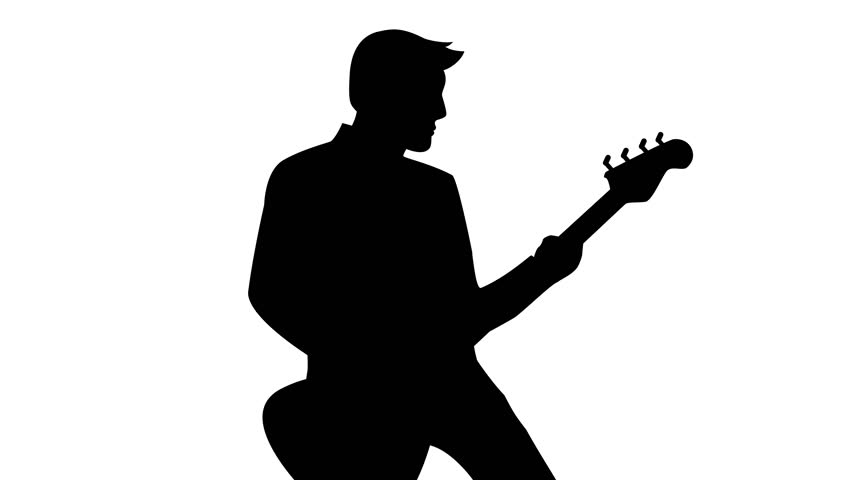 852x480 Silhouette Of A Guitarist Playing The Guitar. Black And White