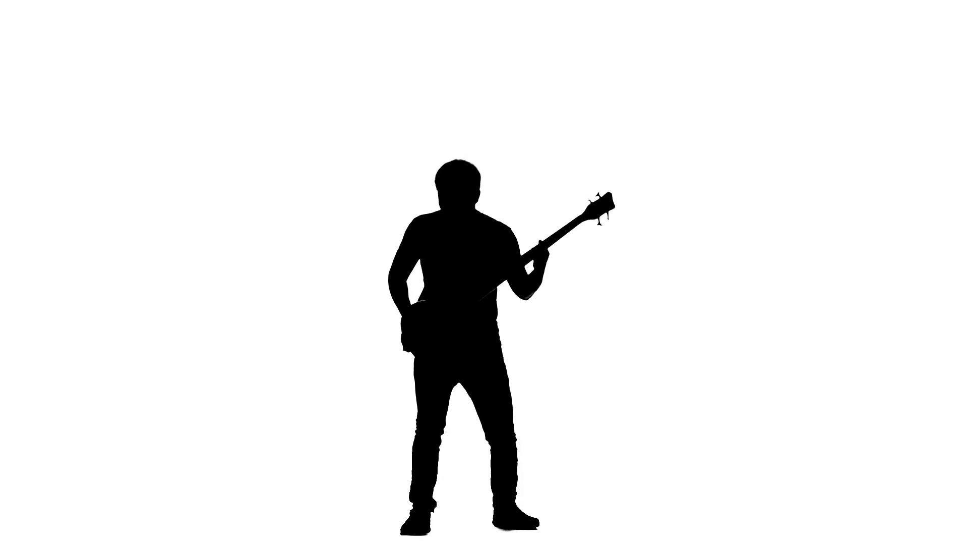 1920x1080 Silhouette A Bass Guitarist. Jumps Up While Play. Slow Motion