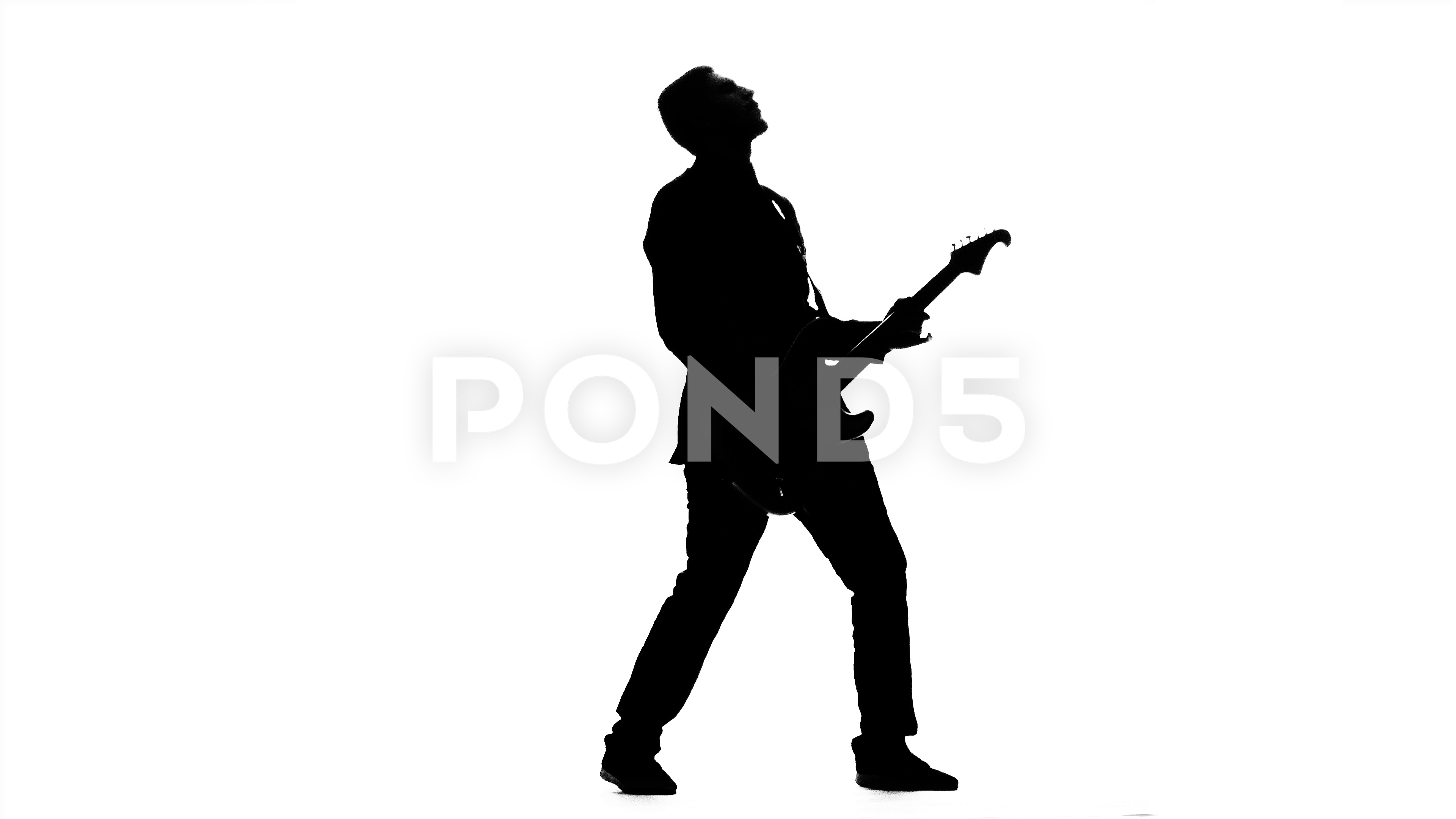 3840x2160 Guitarist Plays Bass Guitar. Silhouette. Studio ~ Footage