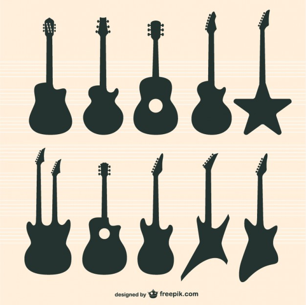 626x625 Guitars Silhouettes Set Vector Free Download