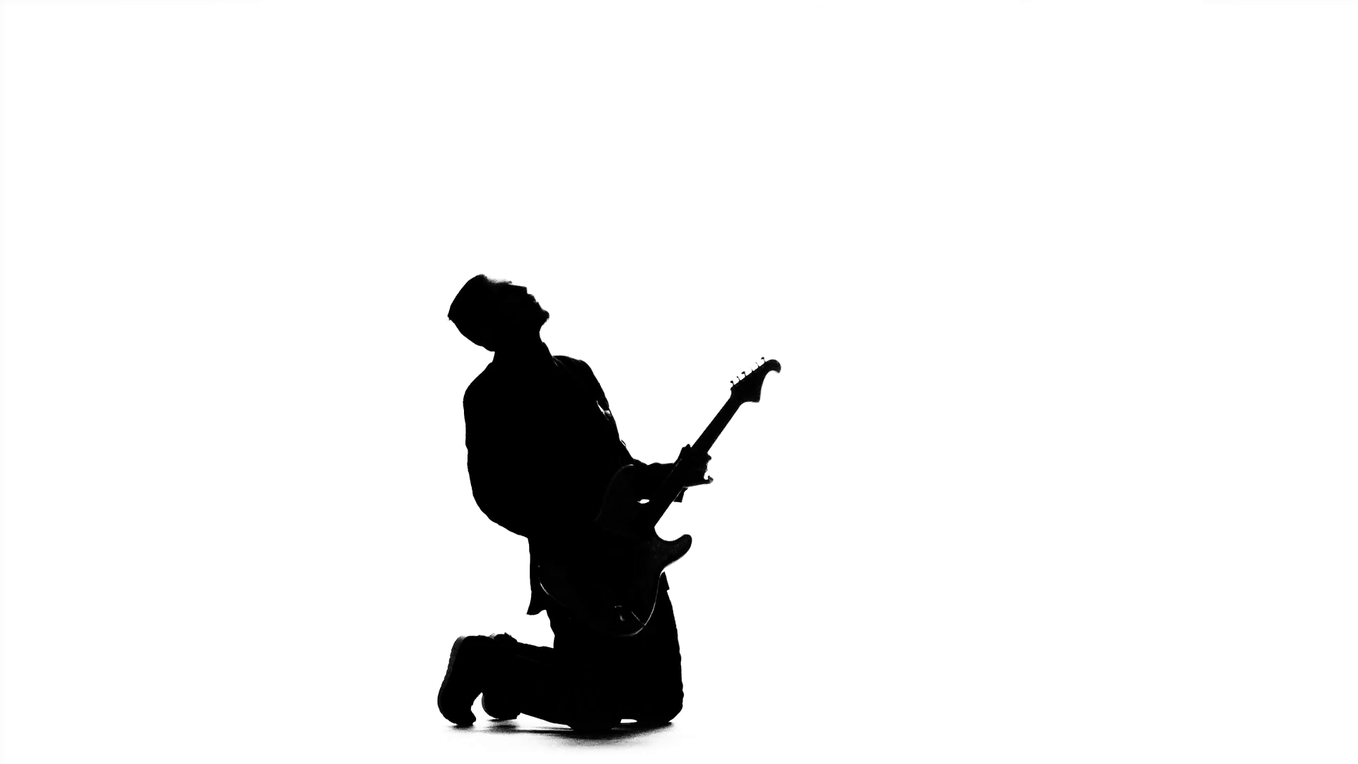 1920x1080 Musician Playing On Electric Bass Guitar On His Knees. Silhouette