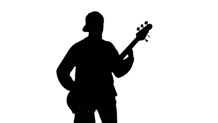 852x480 Silhouette Of Musician With Bass Guitar Stock Footage Video