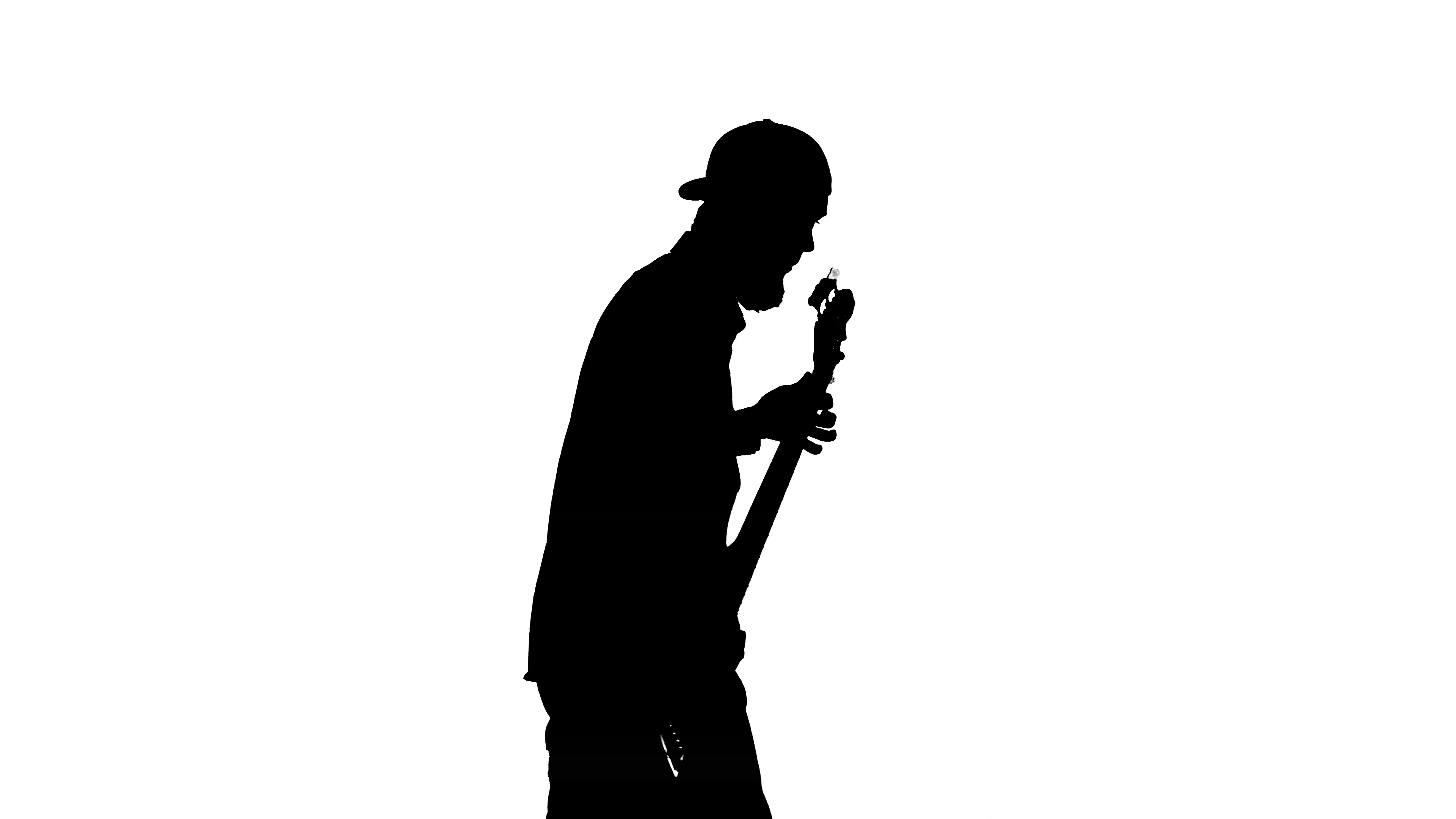 3840x2160 Silhouette Of Musician With Bass Guitar ~ Footage