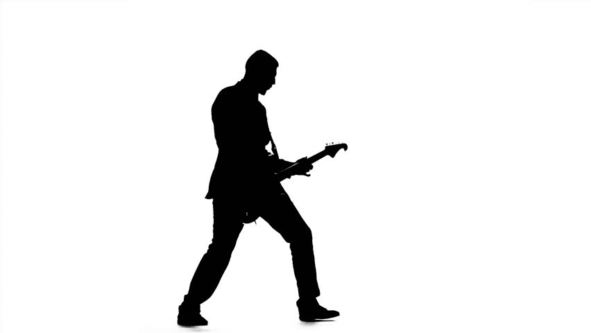 852x480 Man Plays The Melody On The Guitar. Silhouette. Slow Motion Stock