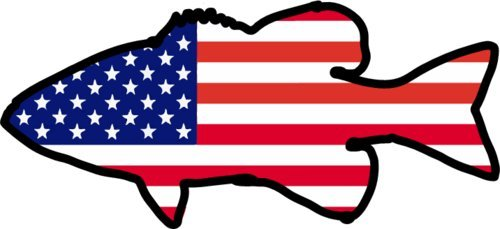 500x229 Bass Decal American Flag Bass Fishing Vinyl Sticker Fishing