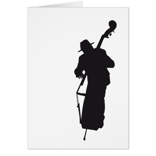 540x540 Picture Postcard Silhouette Double Bass Player