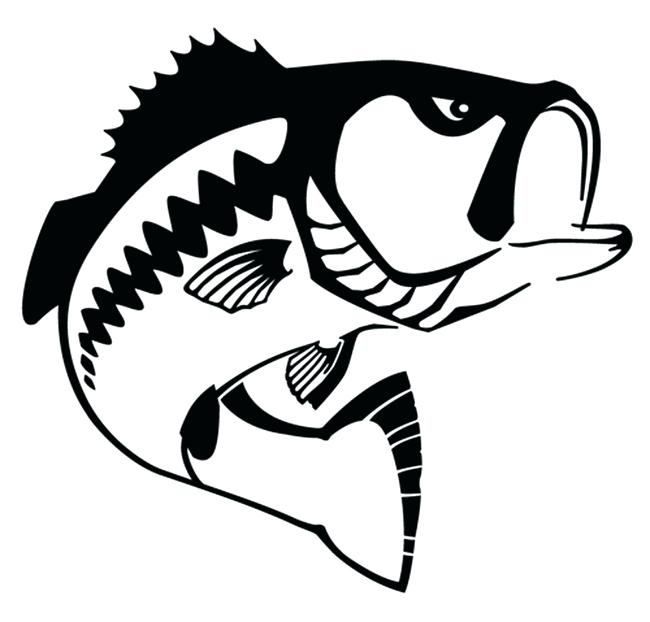 650x622 Bass Fish Silhouette Flounder Black And White Decals Simple Fish