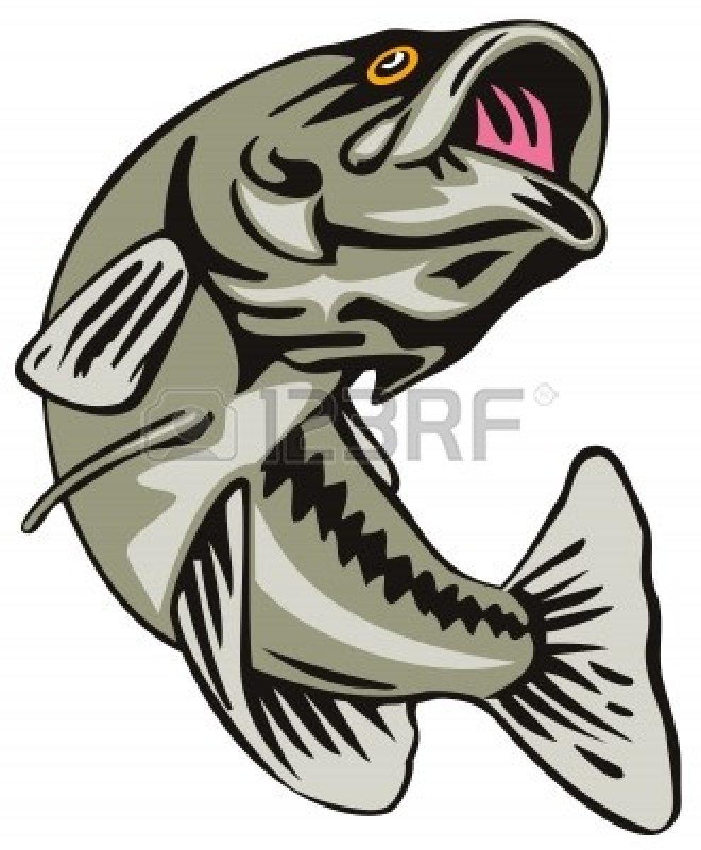 990x1200 Bass Fisherman Silhouette Clipart