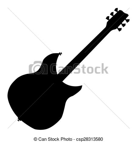 450x465 Electric guitar silhouette. A modern guitar silhouette over