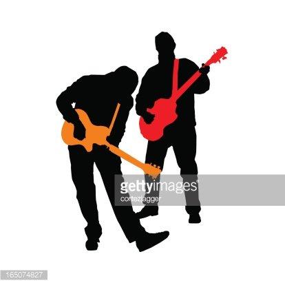414x414 Rocking Guitar Bass Duo Silhouettes (vector Illustrations) premium