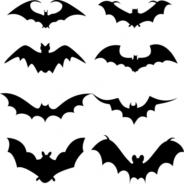 600x599 Set Of Bat Silhouette Free Vector In Adobe Illustrator Ai ( Ai