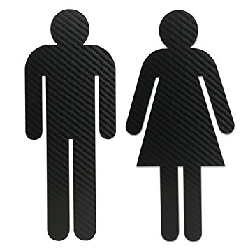 355x355 Men And Women Silhouette Bathroom Sign Cut Out