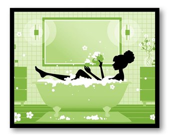 340x270 Purple Bathroom Decor Bathroom Print Silhouette Girl Bathtub