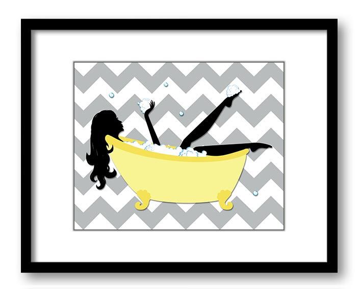 706x568 Yellow Grey Gray Bathroom Decor Bathroom Print Silhouette Chevron