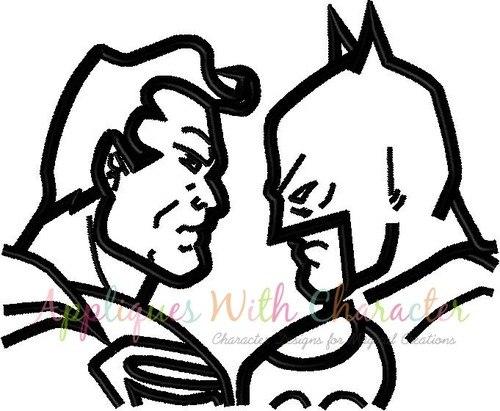 500x411 Batman Superman Silhouette Embroidery Design