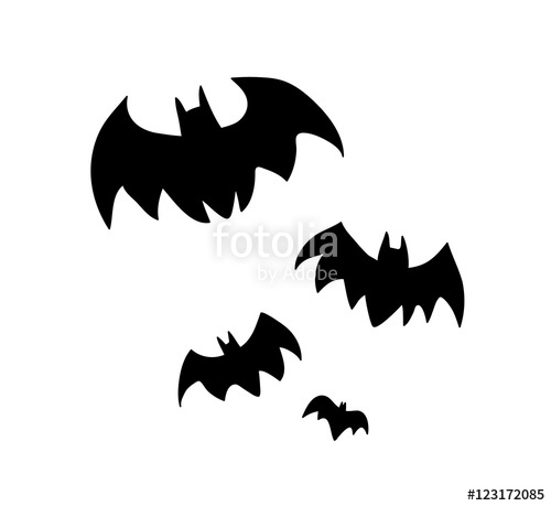 500x459 Flying Bats Silhouette. A Hand Drawn Vector Silhouette