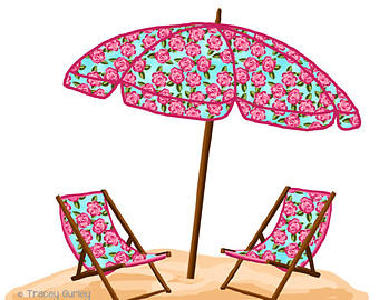 340x270 Beach Chair Umbrella Silhouette Clipart