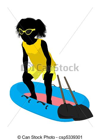 337x470 Beach Girl Silhouette Illustration. Beach Girl With Boat
