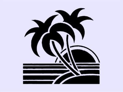 400x300 Escena Art Deco Beach Stencil Stencil,desen Beach