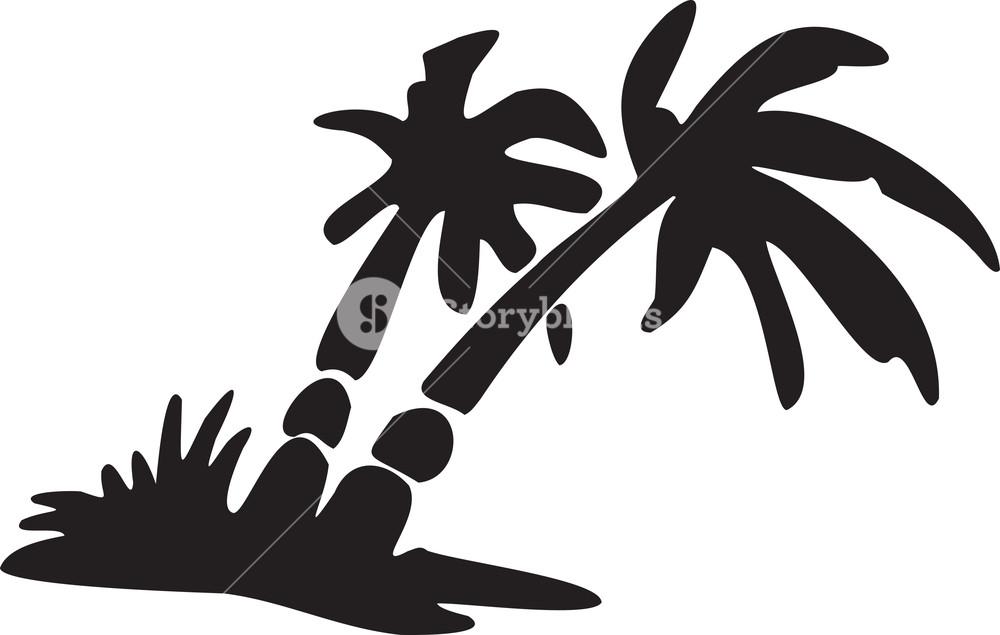 1000x635 Illustration Of Tropical Beach Scene. Royalty Free Stock Image