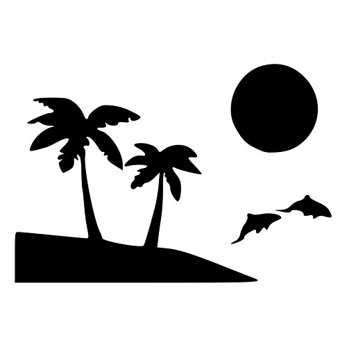 500x500 Palm Trees Beach Scene With Dolphins Die Cut Decal Car Window Wall