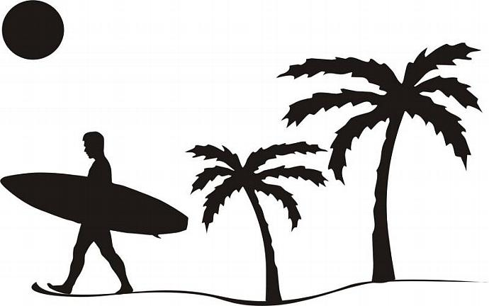 690x432 Surfer Beach Scene Laptop Sticker Decal Cool Dabbledown