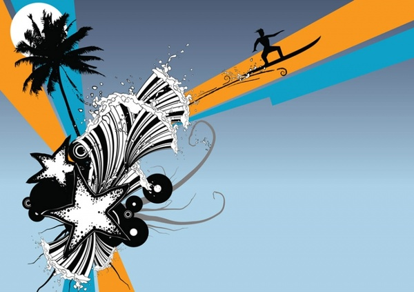 600x423 Beach Surf Graphics Free Vector In Adobe Illustrator Ai ( Ai
