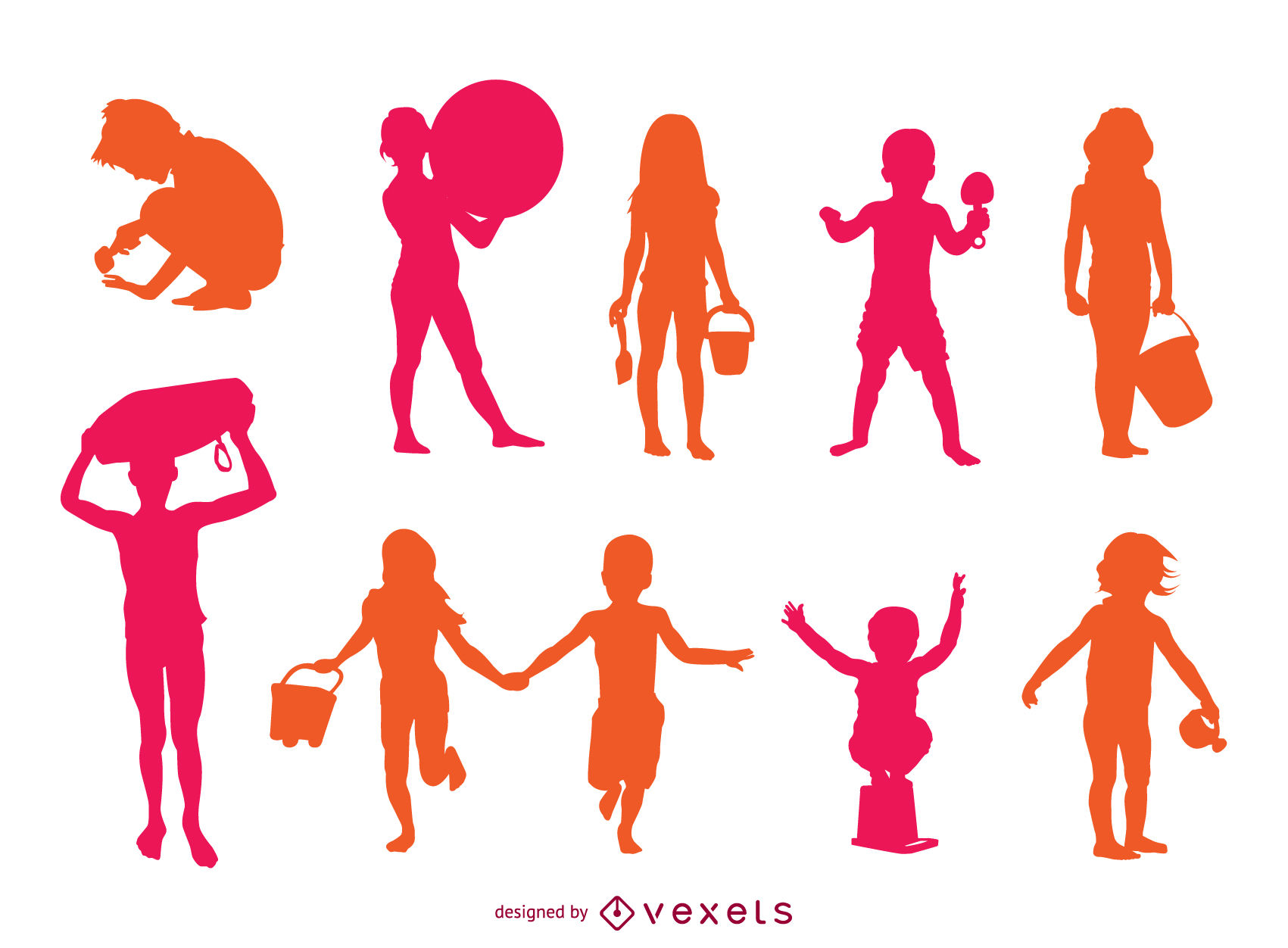 1701x1252 Children Beach Playing Silhouette Set