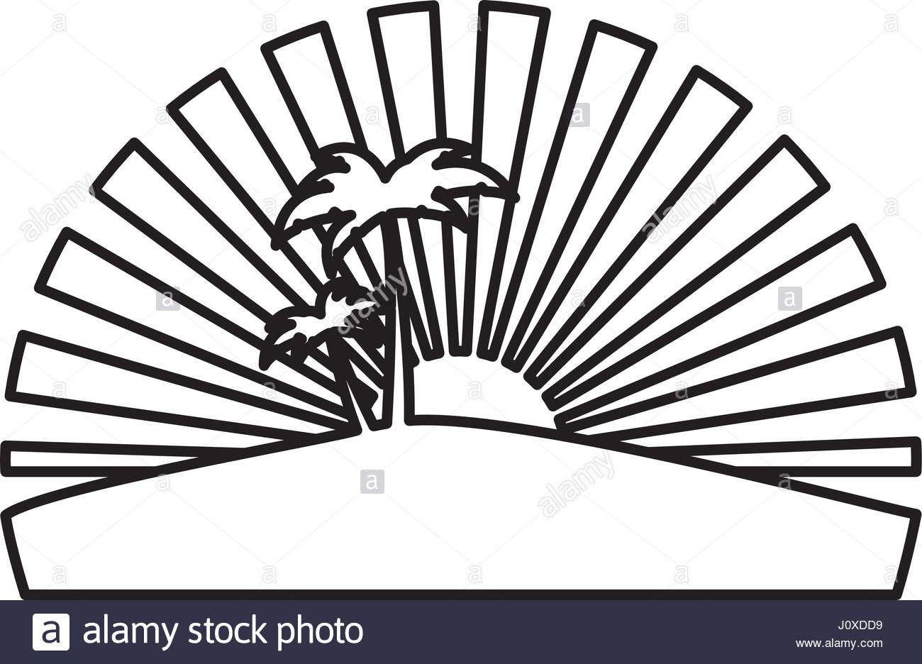 1300x936 Silhouette Circular Background Sunset With Beach And Palms Stock